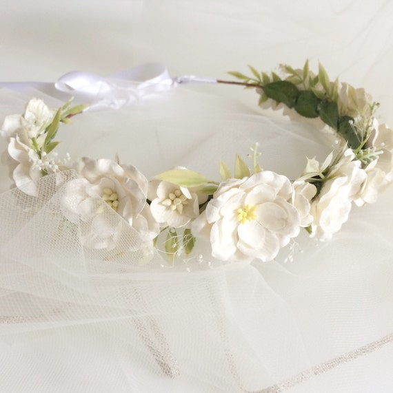 Wedding White Flower Crown: Ivory Flower Crown Wedding Flower Halo White Floral
