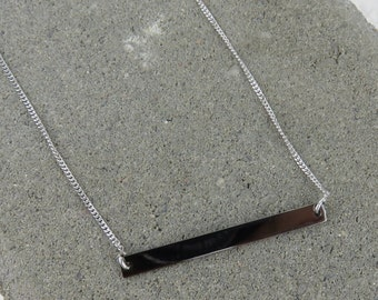 Personalised Silver & Black Rhodium ID Bar Necklace - Free Engraving
