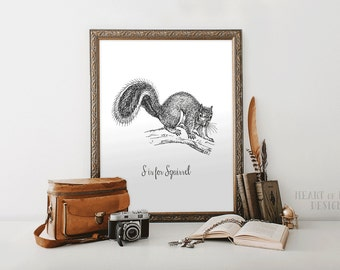 Squirrel print, Printable squirrel art print, S is for Squirrel, Woodland nursery art print set, Black and white print, HEART OF LIFE Design