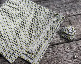 Retro Pocket Square - Grey Pocket Square - Men Pocket Square - Gray Men Hanky - Gift for Men - Gray Lapel Flower - Men Lapel Flower