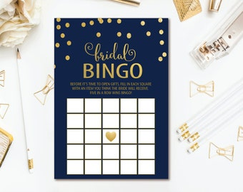 Navy Bridal Shower Bingo, Gold Confetti Printable Wedding Shower Game - INSTANT DOWNLOAD