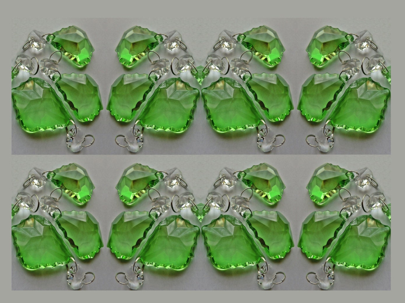 24 emerald green chandelier drops glass crystals droplets chic 24 emerald green chandelier drops glass crystals droplets chic leaf beads pisms vintage christmas tree wedding decoration crafts light parts mozeypictures Image collections