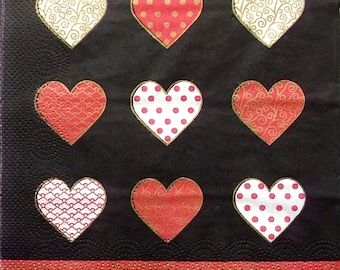 Set of 2 pcs 3-ply Love paper napkins for Decoupage or collectibles 33x33cm, Luncheon napkins, Hearts napkins