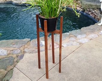 Tall Solid wood Plant Stand-Walnut, Cherry, Spalted Oak, Bradford Pear, Maple | Mid Century Indoor planter | Decorative modern pot holder