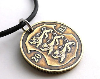 Estonian, Coin necklace, Lion necklace, Men's necklace, Animal necklace, Coin pendant, Coin jewelry, Leather necklace, Repurposed coin, 2003