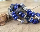 Midnight Blues In Paris Gemstone Bracelets, Beadwork Bracelets, Gemstone Bracelets, Healing Gemstone Bracelets, Vintage Bead Bracelets, OOAK