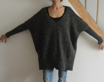 15% off with code WSALE15-Pull oversized for hand knitted wool woman