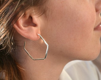 Hexagon hoop earrings sterling silver 925 - Geometric hexy six sided geometric modern contemporary made in Australia