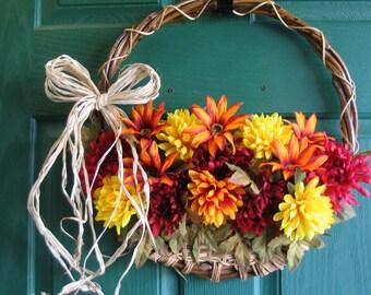 Fall Door Basket, Fall Wreath