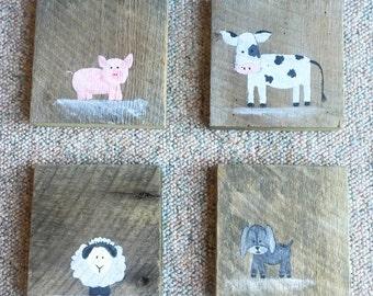 Farm Animals Nursery Art Board Set of 4- cow pig sheep goat barn wood