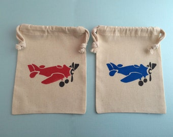 Airplane Party Favor Bags with Blue Plane and Red Plane Design- Muslin Bags With Transport Designs, Airplane Party Supplies