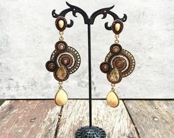 Chandelier Earrings, Statement Earrings, Dangle Drop Earrings, Brown & Gold Earrings, bridesmaid earrings, Long Earrings, Long Drop Earrings