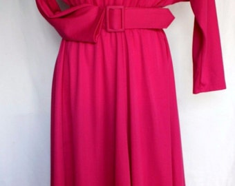 Vintage 1980's Hot Pink Dolman Bat Wing Sleeve Open-Back Dress with Matching Belt - Small or Medium, Awesome!