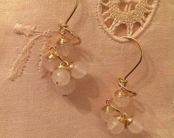 White chalcedony quartz dangling earring handmade with gold wire
