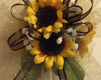 Homecoming Silk Wrist Corsage, Sunflower Prom Silk Wrist Corsage, Sunflower Bridal Shower, Mother of the Bride Corsage