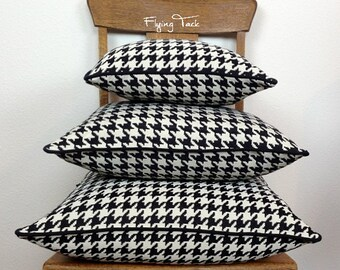 Black and White Houndstooth Pillow cover.