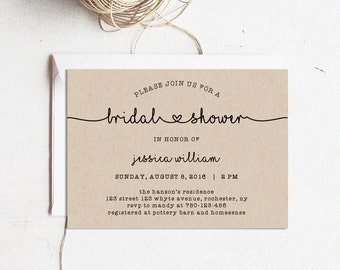 Printable Bridal Shower Invitation, Bridal Shower Template, Editable text and color, Edit in Word 2010/2011 or later