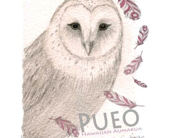 Owl V-neck T shirt - bird lover, exclusive design– handmade in Hawaii
