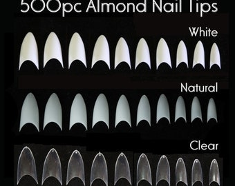 500pc Almond Tips Flase Nail pointy French Tips Stiletto Oval Shape Manicure Fake Nails