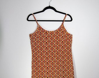 90s Fall checkered floral slip dress