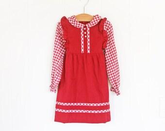 Red Vintage Girls Dress // 4T Vintage Dress for Girls // Girls Vintage Dress Maroon Long Sleeve