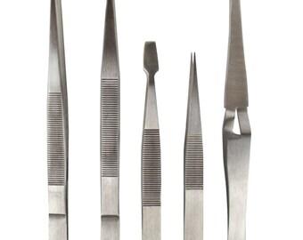 5-Piece Stainless Steel All Purpose Tweezer Set - TWEZ-0051