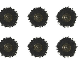 "Set of 6 Black Bristle Brushes 3/32"" Mounted Shank Jewelry Cleaning Metal Finishing Rotary Polishing Tool - BRUS-0016"
