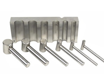 Steel U-Channel Swage Forming Dapping Block w/ 8 Hammer Punches Jewelry Making Metal Forming Tool - FORM-0060