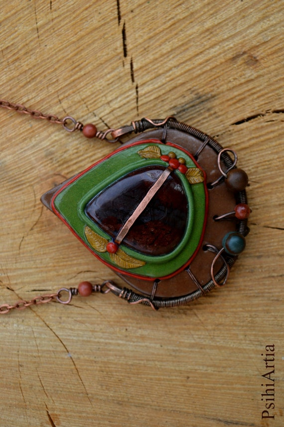 Polymer clay necklace Forest necklace Nature inspired necklace Wire wrapped necklace Copper wire pendant Polymer clay pendant Copper jewelry