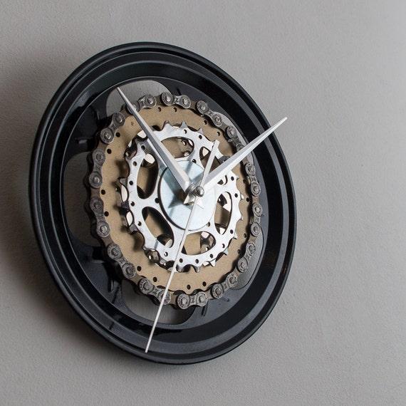 Steampunk Wall Clock, Bicycle Wall Clock, Black Modern Wall Clock, Industrial Wall Clock, Large Wall Clock, Bike Wall Clock, Big Wall Clock