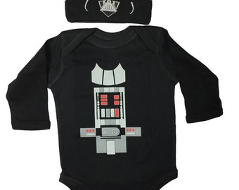 Star Wars Baby Darth Vader Bodysuit Long Sleeve Set With A Beanie And A Lap Shoulder Fold Snap On Buttons Costume May The Force Be With You