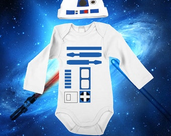 Star Wars Baby Boy R2D2 Bodysuit Long Sleeve Set With A Beanie And a Lap Shoulder Fold Snap On Buttons Costume May The Force Be With You