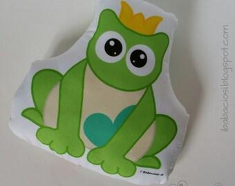 Frog Prince pillow in fancy Mint