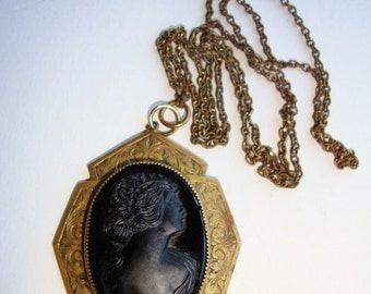 1900's Cameo Pendant ~ French Jet Glass