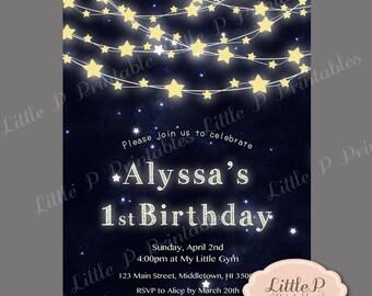 1st Birthday Invitation. Little Star Birthday Invitation. Star string lights invitation. Baby BIG ONE Invitation. Teenage. Adult 070