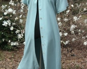 SILK DUSTER DRESS, Vintage Maxi Button-Down, Soft Blue Pale Turquoise, 1990s Boho Chic, long minimalist, shell buttons, summer festival, Med