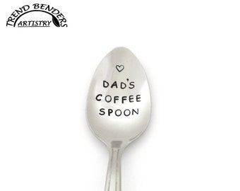 Dad's Coffee Spoon, Hand Stamped Spoon, Stainless Steel Stamped Silverware, Unique Birthday Gifts For Dad, Gift From Kids, Fathers Day Gifts