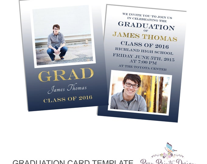 Graduation Announcement Template - 5x7 Digital Photography Photoshop Files - Template for Photographers - GC11 - DOWNLOAD or PRINTABLE