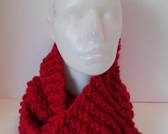 Candy apple red chunky handknit cowl-infinity cowl