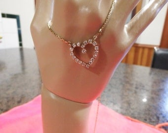 14k Diamond  Heart Necklace- 1 carat- Yellow gold- Vintage-Appraised 2375