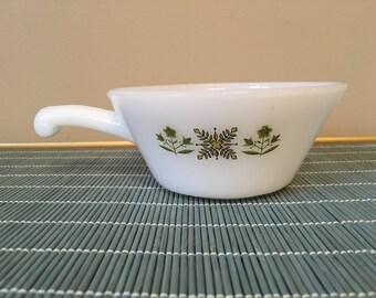 SALE Vintage Fire King Green Meadow ramekin ovenware soup bowl handle anchor hocking white milk glass bakeware