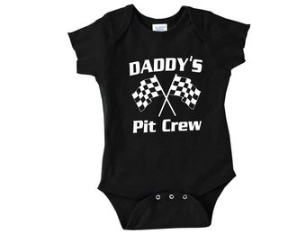 Daddy's Pit Crew racing outfit racecar newborn body suit one piece snap bottom t shirt 2t 3t baby child children onesi auto cars flags