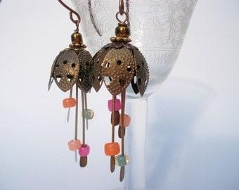 Earrings flower glasspearls brass vintaj earhooks vintage flower earrings romantic earrings