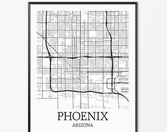 Phoenix Map Art Print, Phoenix Poster Map of Phoenix Decor, Phoenix City Map Art, Phoenix Gift, Phoenix Arizona Art Poster
