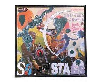 So Many Stars Original Vinyl Record Cover Collage Artwork Vintage Sergio Mendes Album 33 LP Framed Wall Art Home Decor