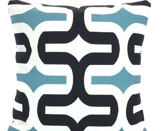 SALE Decorative Throw Pillow Covers, Cushions, Regatta Blue Black White Geometric Embrace, Couch Pillows, Throw Pillow 12 x 16