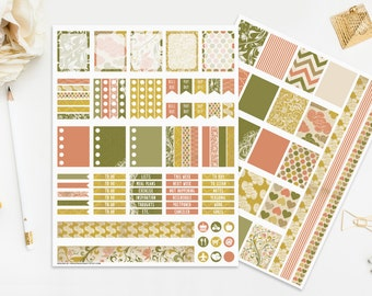 Vintage Printable Planner Stickers Retro Yellow Beige Pink Green Digital Planners Instant Download Print Cut Romantic Flowers Floral Retro