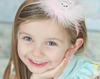 Pink headband,pink baby headband, pink girl headband, fluffy headband, pastel headband, white headband, pink baby gift, big headband, pink