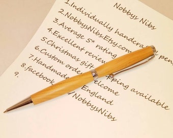 Handcrafted Wooden Ballpoint Pen Made in English Yew. Ideal gift for Birthday, Christmas etc. Great stocking filler.