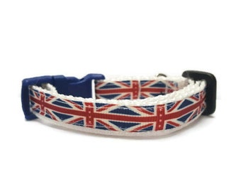 "1/2"" or 5/8"" Union Jack Dog or Cat Collar"